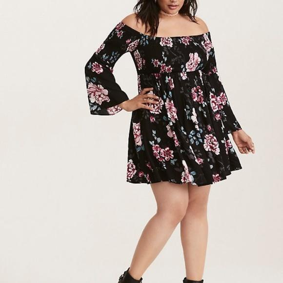 a9afeb04f1 torrid Dresses | 4 Off Shoulder Floral Dress Plus Size | Poshmark